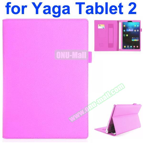 Flip Stand PU Leather Case for Lenovo Yoga Tablet 2 10 inch with Card Slots and Filco (Pink)