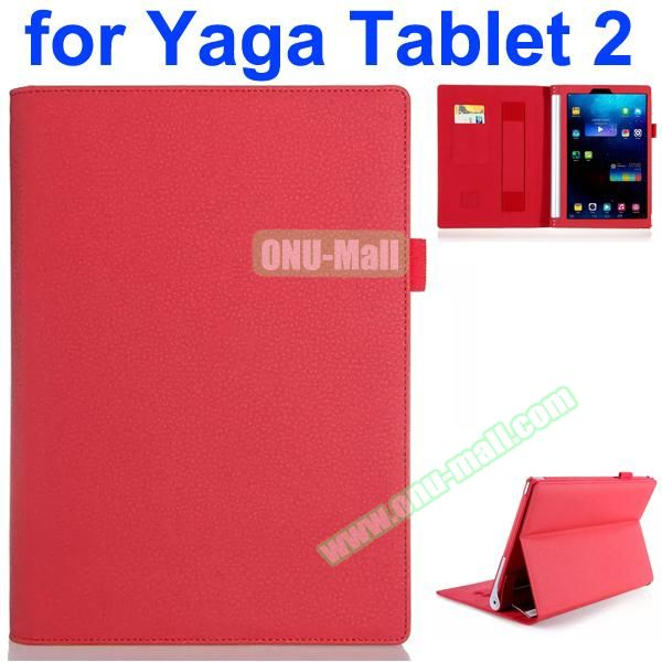 Flip Stand PU Leather Case for Lenovo Yoga Tablet 2 10 inch with Card Slots and Filco (Red)