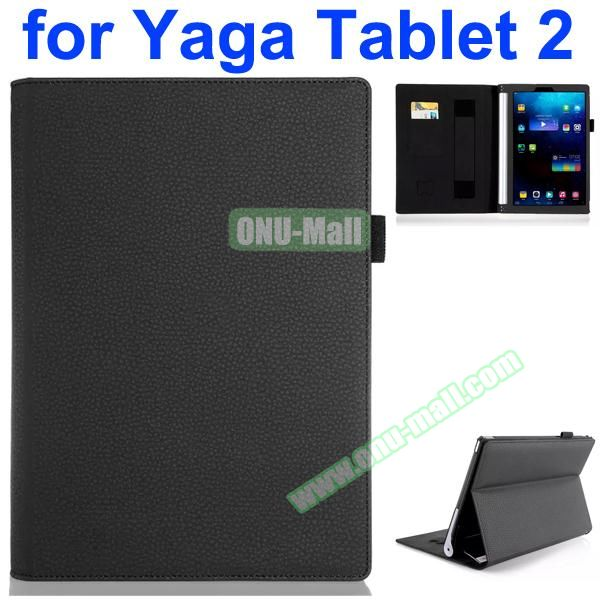 Flip Stand PU Leather Case for Lenovo Yoga Tablet 2 10 inch with Card Slots and Filco (Black)