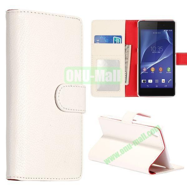 New Arrival Litchi Texture Wallet Leather Case for Sony Xperia Z2 L50w with Card Slots and Stand (White)