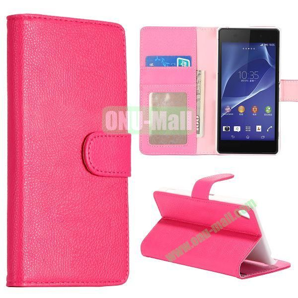 New Arrival Litchi Texture Wallet Leather Case for Sony Xperia Z2 L50w with Card Slots and Stand (Pink)