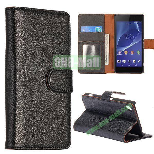 New Arrival Litchi Texture Wallet Leather Case for Sony Xperia Z2 L50w with Card Slots and Stand (Black)
