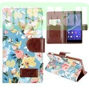 Classical Flowers Design Wallet Pattern Flip Leather Case for Sony Xperia Z2 L50w D6502 D6503