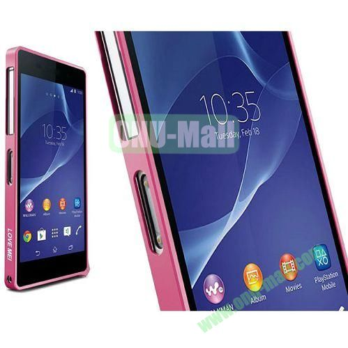 Fashion LOVE MEI Metal Bumper Frame Case for Sony Xperia Z2 L50W D6502 D6503 (Pink)
