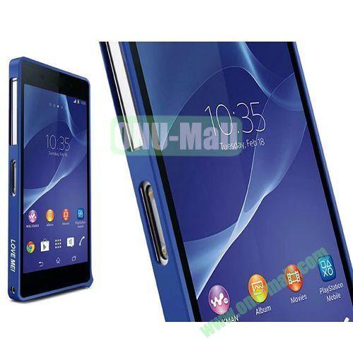 Fashion LOVE MEI Metal Bumper Frame Case for Sony Xperia Z2 L50W D6502 D6503 (Dark Blue)
