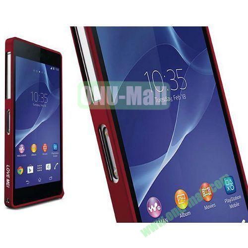 Fashion LOVE MEI Metal Bumper Frame Case for Sony Xperia Z2 L50W D6502 D6503 (Red)