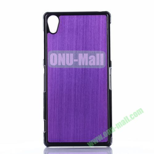 Brushed Pattern Aluminium Coated PC Hard Case for Sony Xperia Z2 L50W D6502 D6503 (Purple)