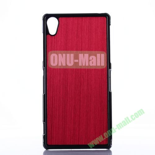Brushed Pattern Aluminium Coated PC Hard Case for Sony Xperia Z2 L50W D6502 D6503 (Wine Red)
