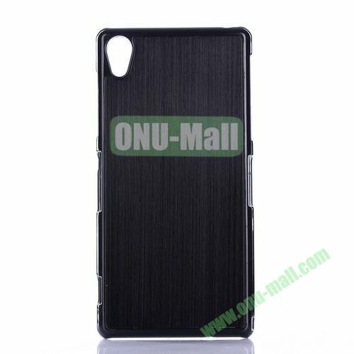 Brushed Pattern Aluminium Coated PC Hard Case for Sony Xperia Z2 L50W D6502 D6503 (Black)