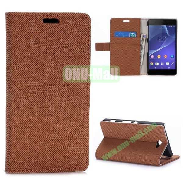 Cloth Texture Magnetic Flip Stand Leather Case for Sony Xperia Z2a D6563 with Card Slots (Brown)