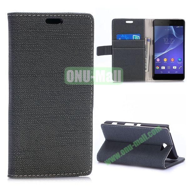 Cloth Texture Magnetic Flip Stand Leather Case for Sony Xperia Z2a D6563 with Card Slots (Black)