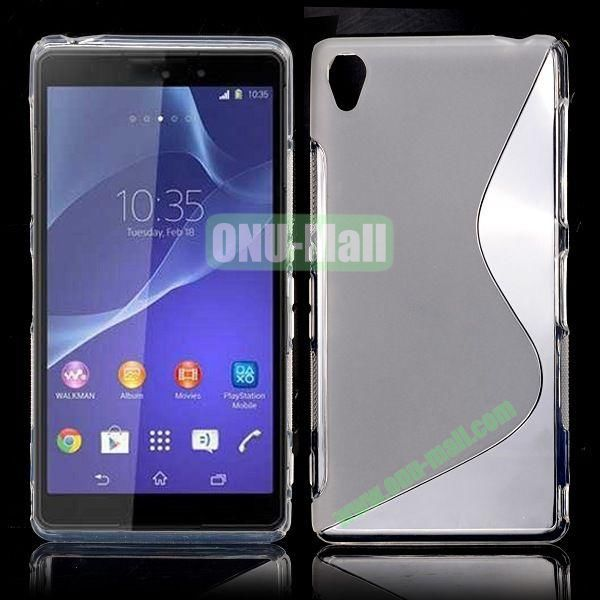 S Shape Soft TPU Case for Sony Xperia Z3 D6603 D6653 (Transparent)