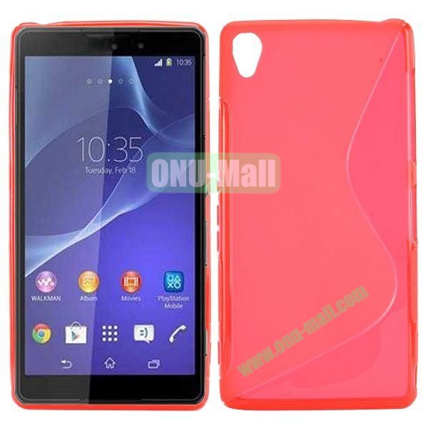 S Shape Soft TPU Case for Sony Xperia Z3 D6603 D6653 (Red)