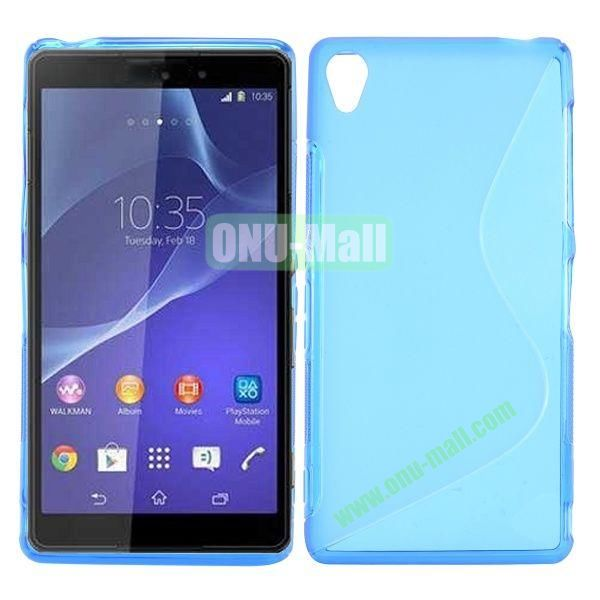 S Shape Soft TPU Case for Sony Xperia Z3 D6603 D6653 (Blue)