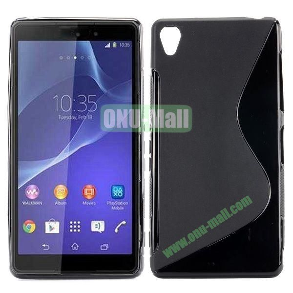 S Shape Soft TPU Case for Sony Xperia Z3 D6603 D6653 (Black)