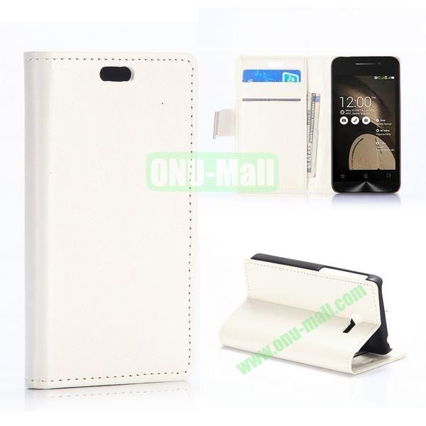 New Arrival Crazy Horse Texture Wallet Patern Flip leather case for Asus ZenFone 4 (White)