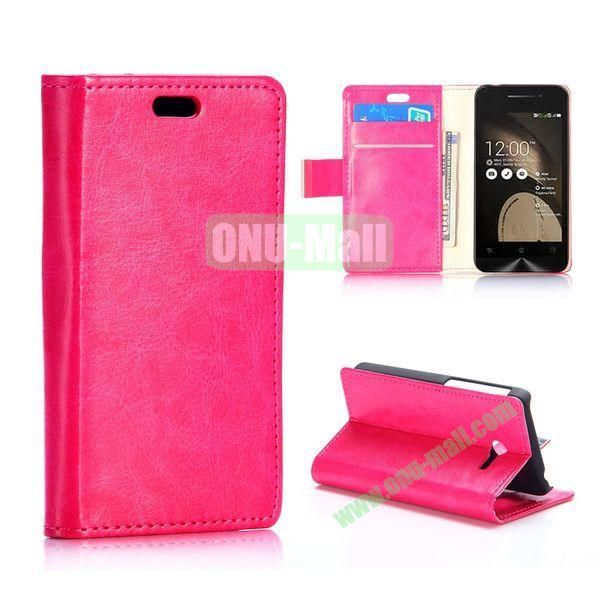New Arrival Crazy Horse Texture Wallet Patern Flip leather case for Asus ZenFone 4 (Rose)