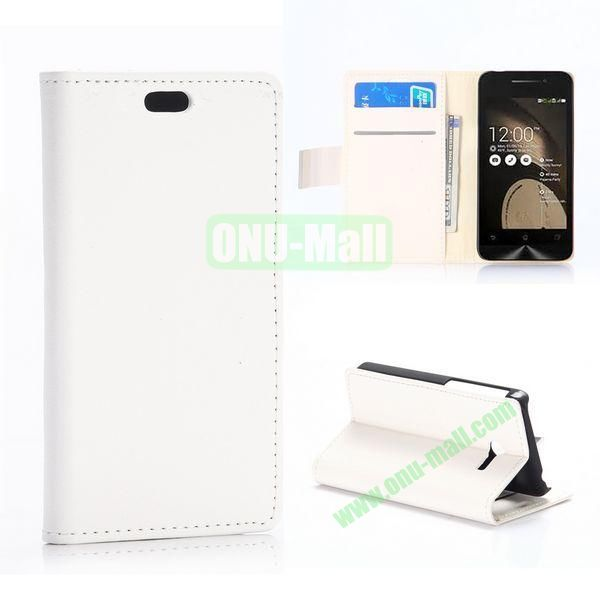 New Arrival Simple Fashion Wallet Patern Flip leather case for Asus ZenFone 4 with Card Slots and Stand (White)