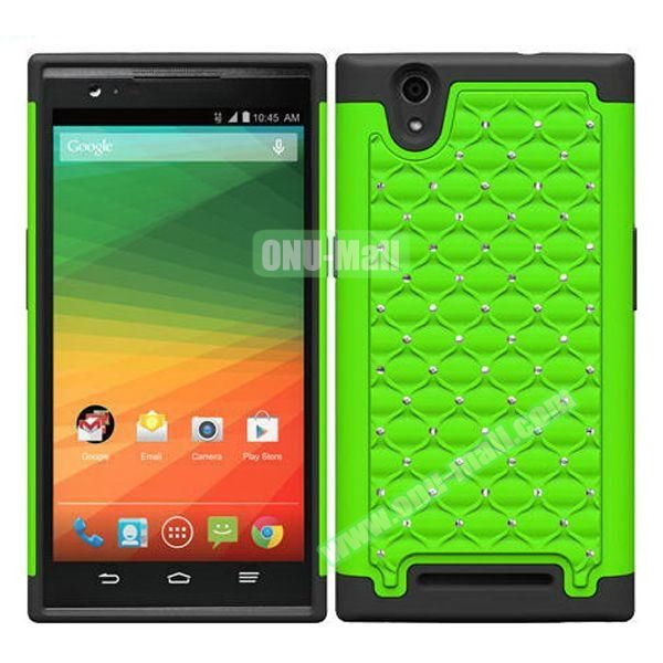 Bling Bling Diamond Style Silicone and PC Hybrid Case for ZTE Z970 (Green)