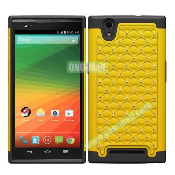 Bling Bling Diamond Style Silicone and PC Hybrid Case for ZTE Z970 (Yellow)