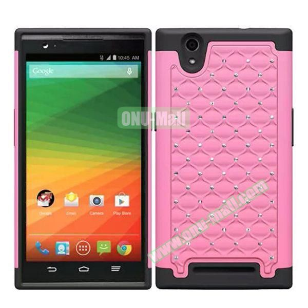 Bling Bling Diamond Style Silicone and PC Hybrid Case for ZTE Z970 (Pink)