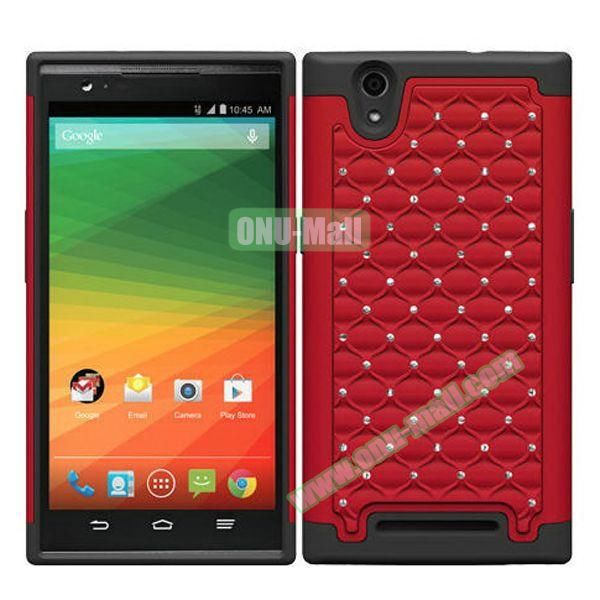 Bling Bling Diamond Style Silicone and PC Hybrid Case for ZTE Z970 (Red)
