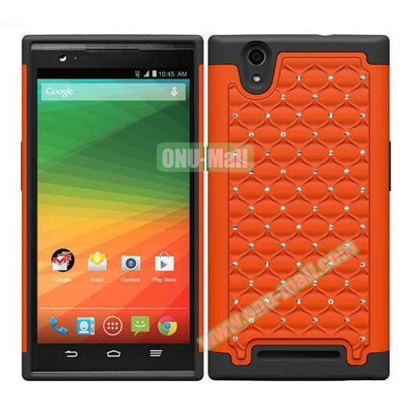 Bling Bling Diamond Style Silicone and PC Hybrid Case for ZTE Z970 (Orange)