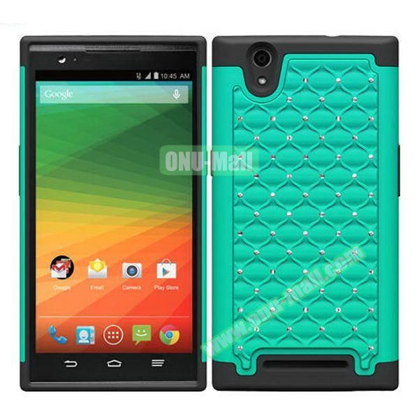 Bling Bling Diamond Style Silicone and PC Hybrid Case for ZTE Z970 (Lake Blue)