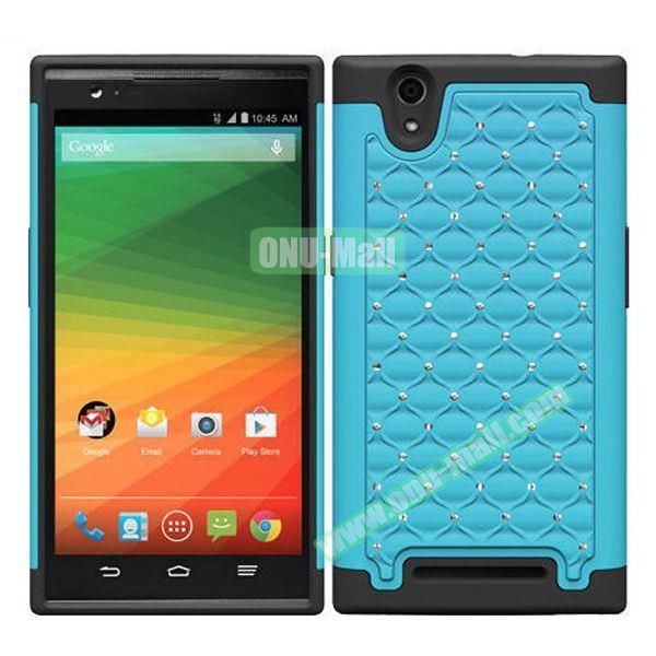 Bling Bling Diamond Style Silicone and PC Hybrid Case for ZTE Z970 (Baby Blue)
