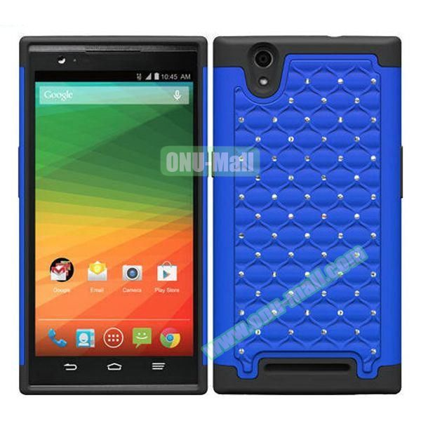 Bling Bling Diamond Style Silicone and PC Hybrid Case for ZTE Z970 (Blue)