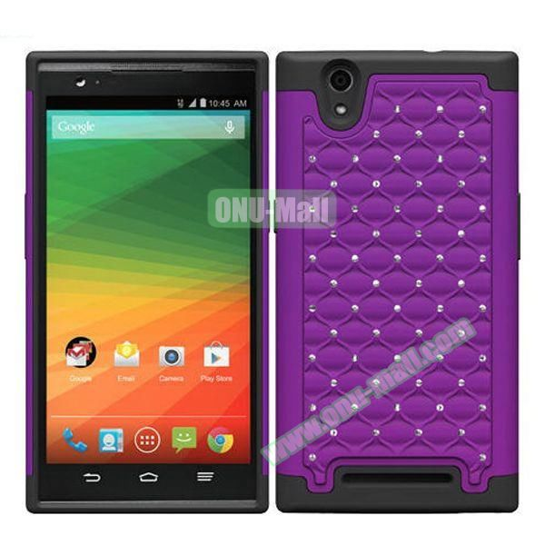 Bling Bling Diamond Style Silicone and PC Hybrid Case for ZTE Z970 (Purple)