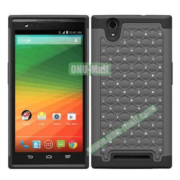 Bling Bling Diamond Style Silicone and PC Hybrid Case for ZTE Z970 (Gray)