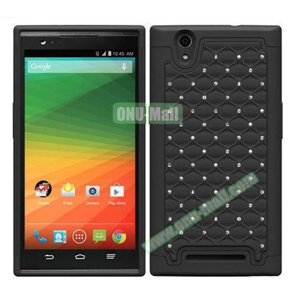 Bling Bling Diamond Style Silicone and PC Hybrid Case for ZTE Z970 (Black)