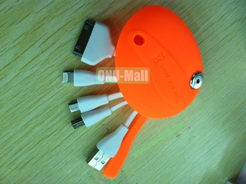 New Arrival Hot Four In One Multifunctional Charging Cable USB Charging Cable With Cute Bag For NokiaSamsungiPhone Etc(Orange)