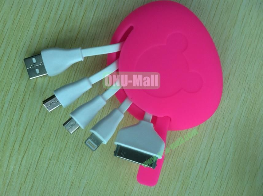 New Arrival Hot Four In One Multifunctional Charging Cable USB Charging Cable With Cute Bag For NokiaSamsungiPhone Etc(Rose)