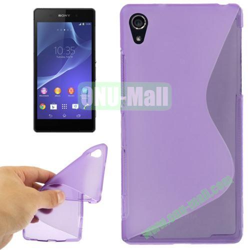 Anti-skid S Shaped TPU Case for Sony Xperia Z2  L50w  (Purple)