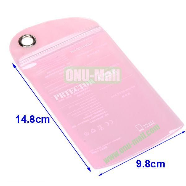 Size:14.8*9.8cm,Case Packing Waterproof Bag for Smart Phone, iPhone,iPod,and other Smart Phones .Also Can be Used as the Bag for Phone's Shell(Pink)