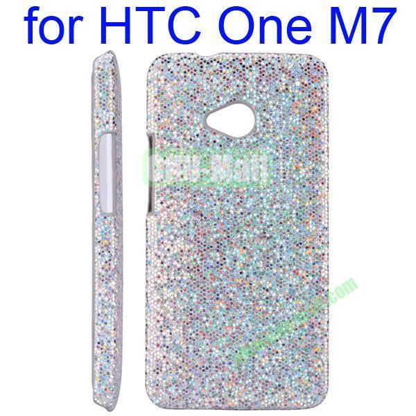 Wholesale For HTC One M7 Shining Glitter Powder Ultrathin Back Cover Hard Case(Silver)