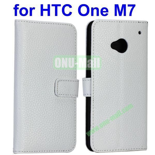 For HTC One M7 With Slots Pure Color Lichee Texture Magnetic Flip Stand Leather Cover Case (White)