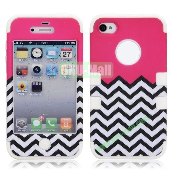 Waves Pattern 3 in 1 Detachable Hybrid Design Hard+Silicone Case for iPhone 4S 4 (White)