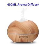 CE RoHS FCC Approved 400 ML Wood Grain Ultrasonic Aroma Diffuser (Light Brown)