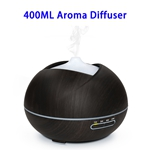 CE RoHS FCC Approved 400 ML Wood Grain Ultrasonic Aroma Diffuser (Black)