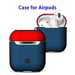 New Trending 2 in 1 TPU+PC Case for AirPods Headphone (Red with Blue)
