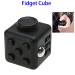 Stress Squeeze Fun Anti Stress 6-Sided Desk Fidget Toy Cube for Adults and Children (Black)