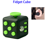 Stress Squeeze Fun Anti Stress 6-Sided Desk Fidget Toy Cube for Adults and Children (Black and Green)