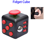 Stress Squeeze Fun Anti Stress 6-Sided Desk Fidget Toy Cube for Adults and Children (Black and Red)