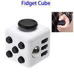 Stress Squeeze Fun Anti Stress 6-Sided Desk Fidget Toy Cube for Adults and Children (Black and White)