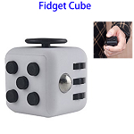 Stress Squeeze Fun Anti Stress 6-Sided Desk Fidget Toy Cube for Adults and Children (Black and Grey)