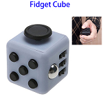Stress Squeeze Fun Anti Stress 6-Sided Desk Fidget Toy Cube for Adults and Children (Black and Leaden)