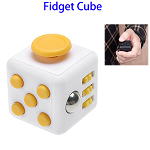 Stress Squeeze Fun Anti Stress 6-Sided Desk Fidget Toy Cube for Adults and Children (White and Yellow)